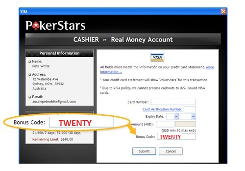 PokerStars Bonus Code TWENTY